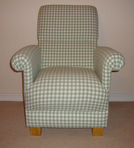 Laura Ashley Heath Green Gingham Fabric Chair Adult Sage Check Occasional  Nursery Bedroom