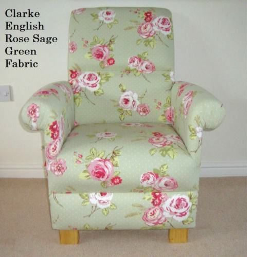 Bon Clarke English Rose Sage Green Fabric Adult Chair Nursery Floral Pink  Shabby Chic Armchair Bedroom