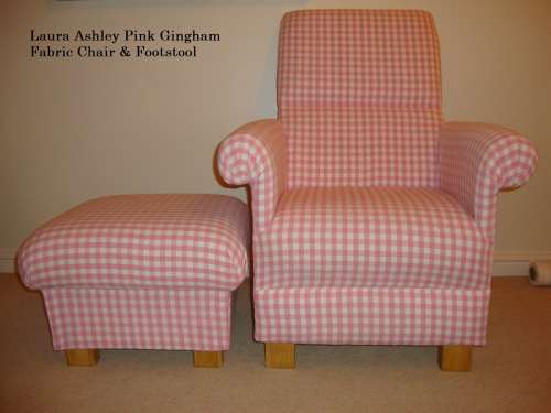 Laura Ashley Pink Gingham Fabric Chair Footstool Nursery