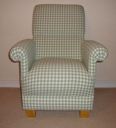 Merveilleux Laura Ashley Heath Green Gingham Fabric Chair U0026 Footstool Nursery Check