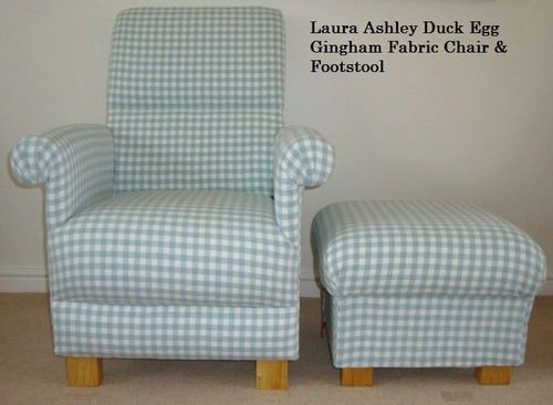 Laura Ashley Duck Egg Gingham Fabric Adult Chair & Footstool Green Blue Nursery Check
