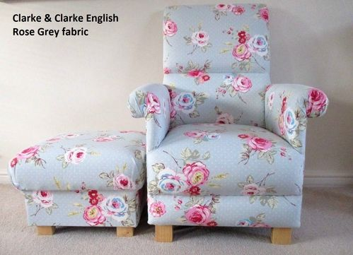 Clarke English Rose Grey Fabric Chair & Footstool Nursery Pink Floral Flowers Armchair