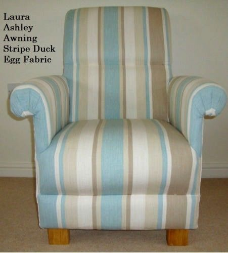 Laura Ashley Awning Stripe Fabric Adult Chair Armchair Duck Egg Green  Bedroom Nursery Blue Striped