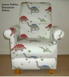 Laura Ashley Dinosaurs Fabric Adult Chair Nursery Armchair T-Rex Bedroom Accent Red White Blue