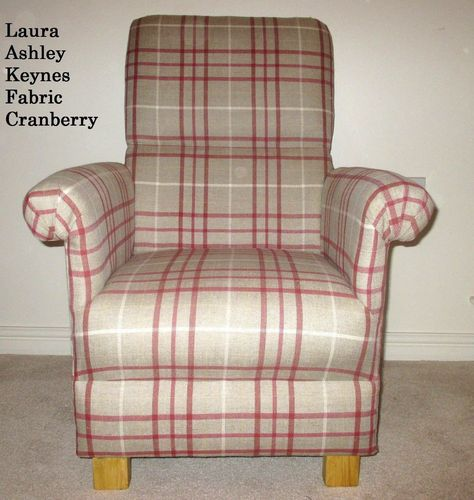 Laura Ashley Keynes Fabric Adult Chair Cranberry Red Beige Armchair Nursery  Lounge Bedroom Check