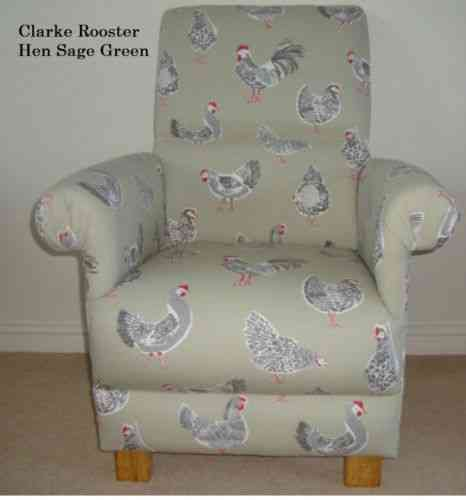 Clarke U0026 Clarke Rooster Hen Fabric Sage Green Chair Armchair Kitchen  Occasional