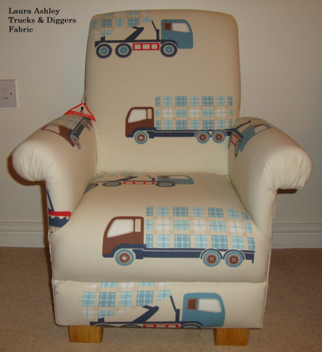 Laura Ashley Tractors U0026 Trucks Fabric Childu0027s Chair Kids Nursery Lorries