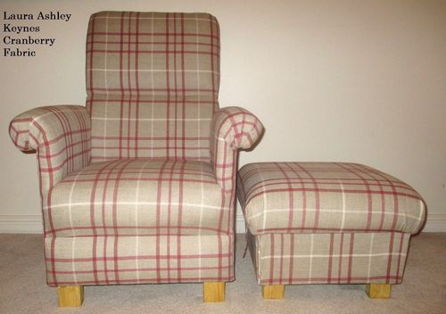 Laura Ashley Keynes Cranberry Fabric Adult Chair & Footstool Natural Red Beige Check Nursery