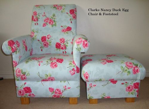 Clarke Nancy Duck Egg Fabric Adult Chair Green Pink Floral Armchair Roses Kitchen Shabby Chic