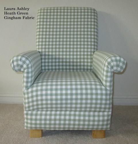 Laura Ashley Heath Green Gingham Childu0027s Chair Kids Nursery Check Bedroom