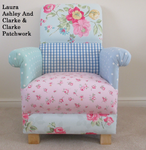 Laura Ashley and Clarke & Clarke Fabric Patchwork Nursery Armchair Pink Duck Egg