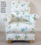 Laura Ashley Orchid Apple Green Fabric Adult Chair Armchair Floral White Blue Accent Lounge