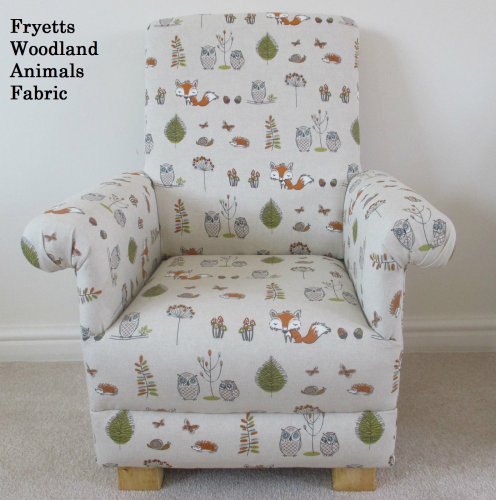 Fryetts Woodland Animals Fabric Childu0027s Chair Owl Fox Kids Bedroom Nursery  Armchair
