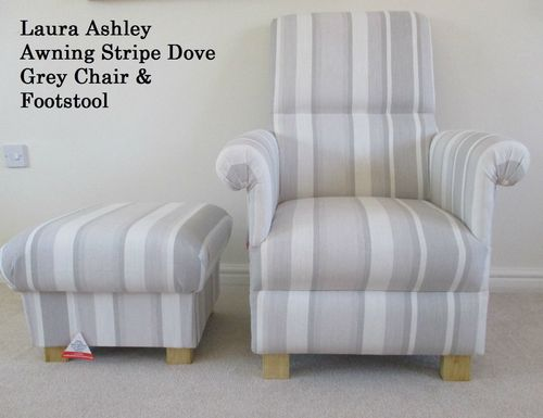 Laura Ashley Awning Stripe Dove Grey Fabric Adult Chair & Footstool Nursery Armchair Accent Striped