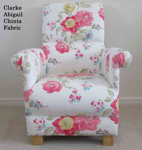 Clarke Abigail Chintz White Fabric Adult Chair Shabby Chic Nursery Floral Armchair