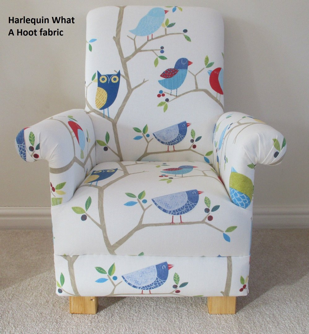 Harlequin What A Hoot Fabric Child Chair Ocean Apple Aqua Kids Nursery  Bedroom Owl