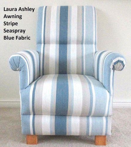Laura Ashley Awning Stripe Seaspray Blue Fabric Adult Chair Nursery Cream  Armchair Striped Bedroom
