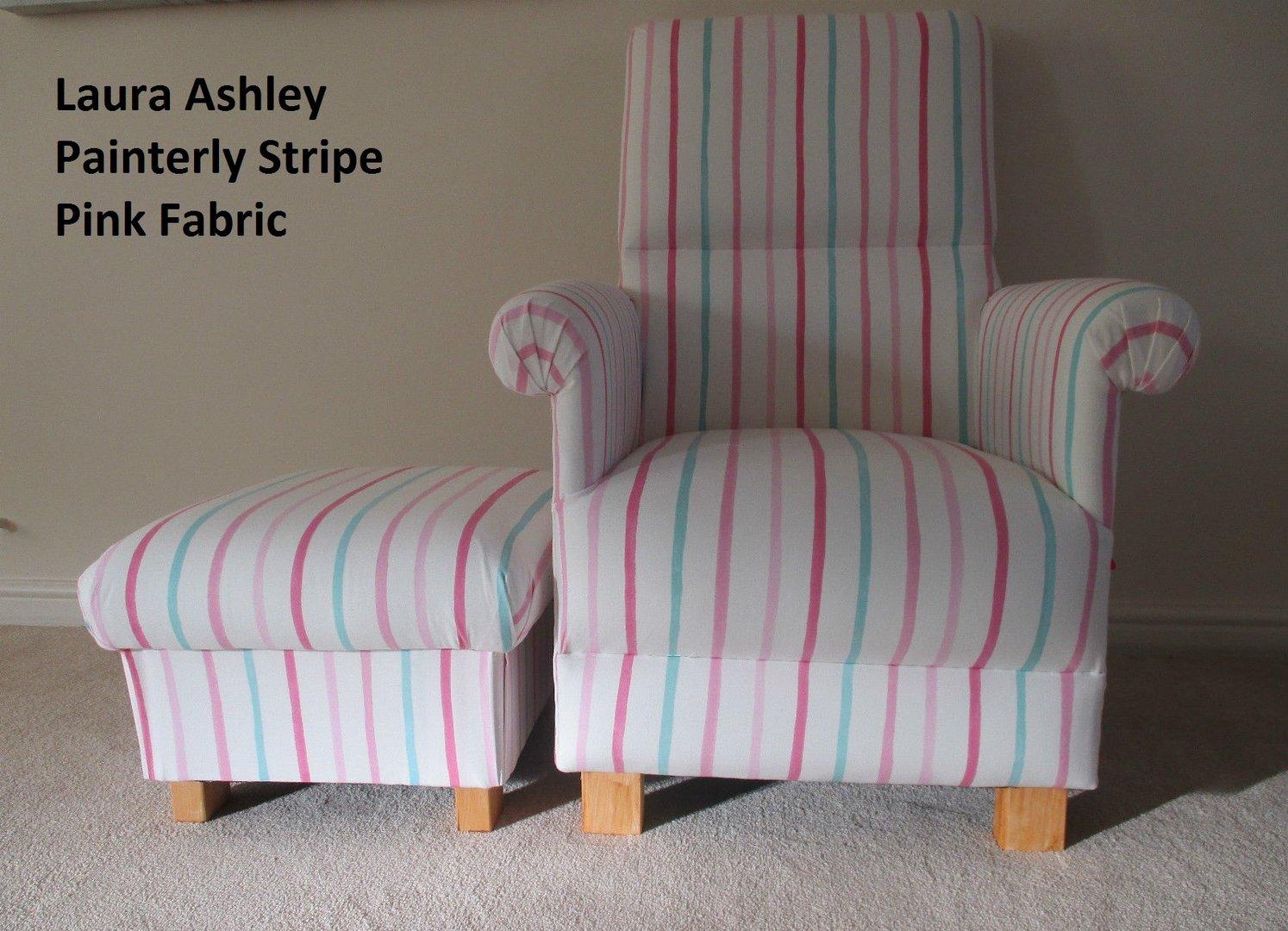 Laura Ashley Bedroom Laura Ashley Painterly Stripe Pink Chair Footstool Nursery