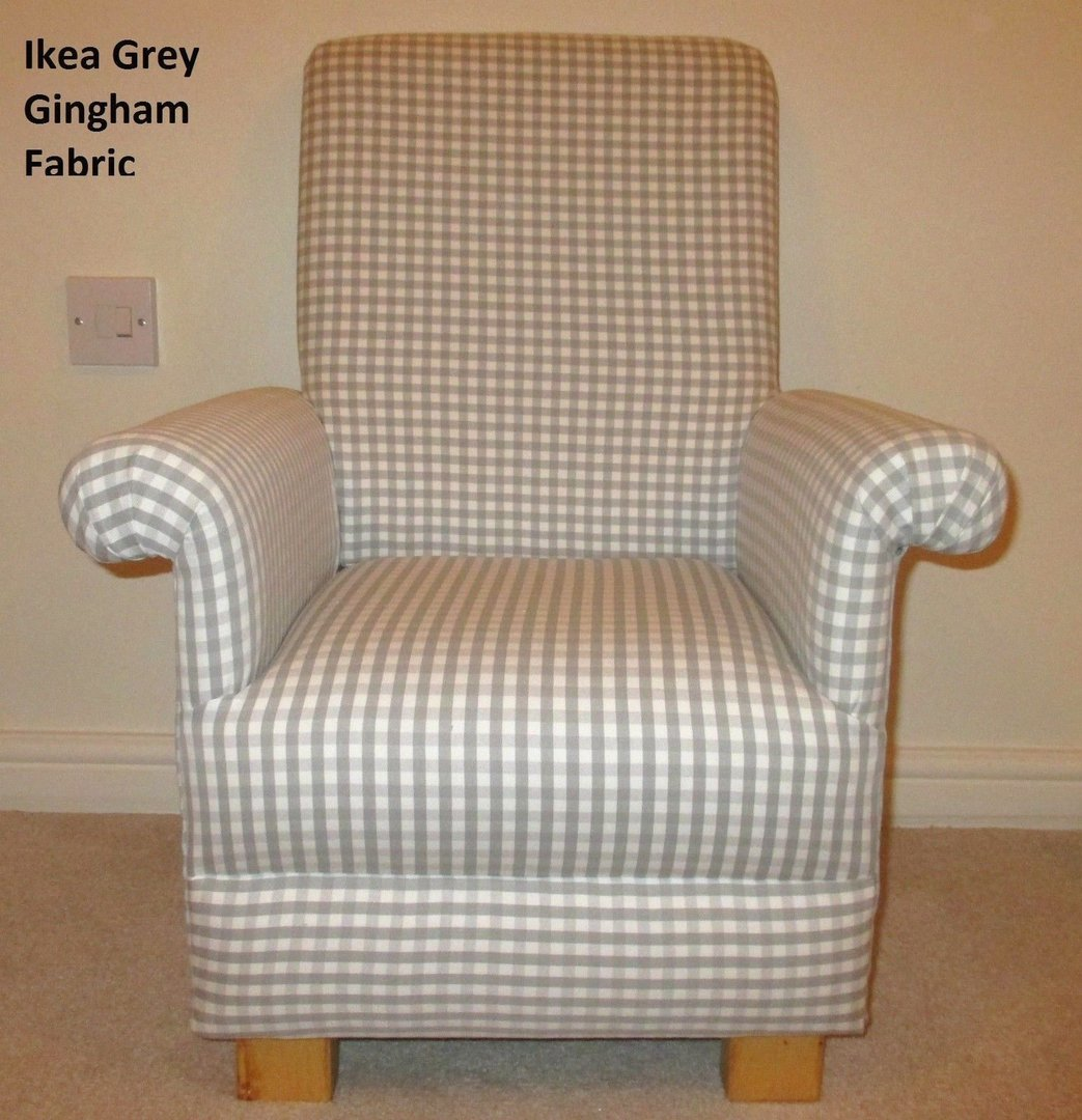 Ikea grey gingham fabric child 39 s chair nursery check boys for Grey childrens chair