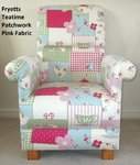 Fryetts Patchwork Teatime Fabric Adult Chair Pink Gingham Blue Nursery Bedroom Armchair Accent