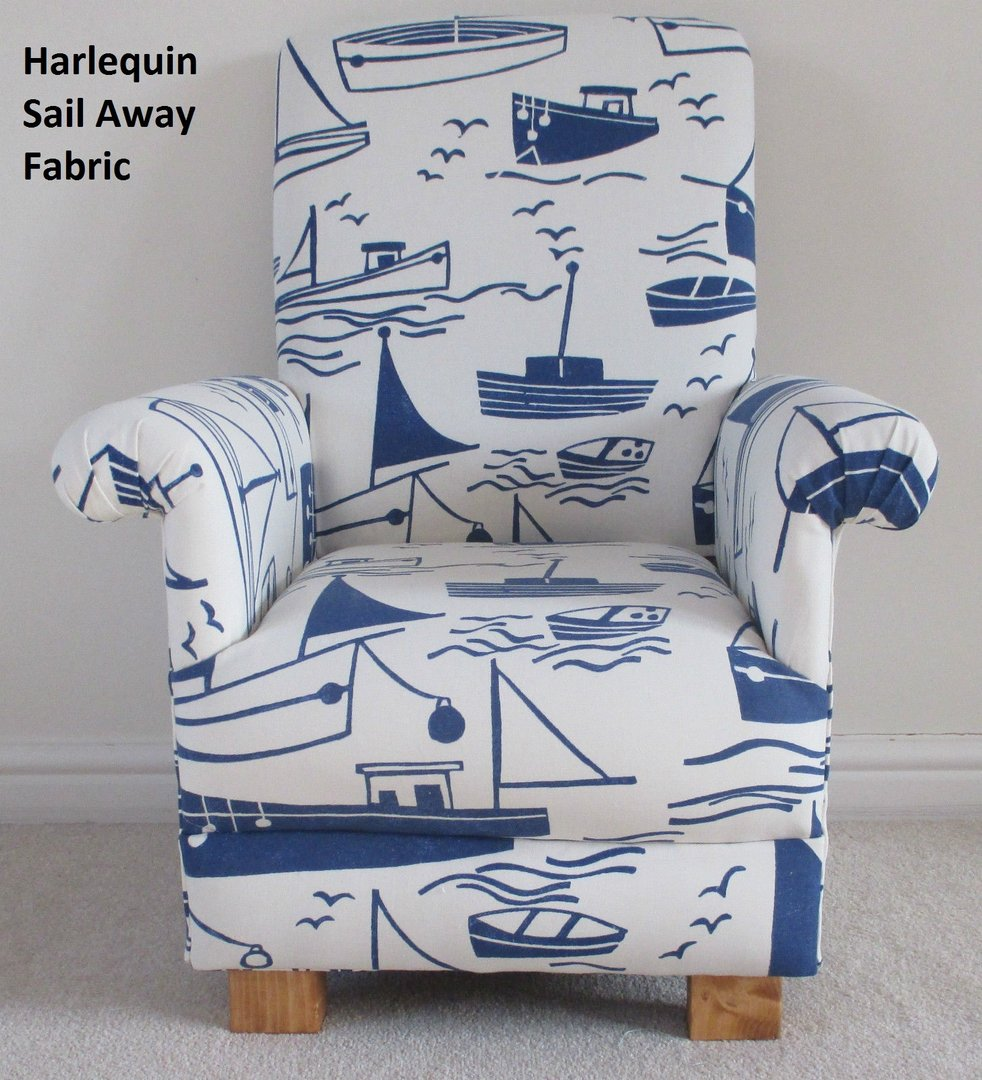 Captivating Harlequin Sail Away Fabric Childu0027s Chair Blue White Ships Boats Nautical  Seaside Nursery Armchair ...
