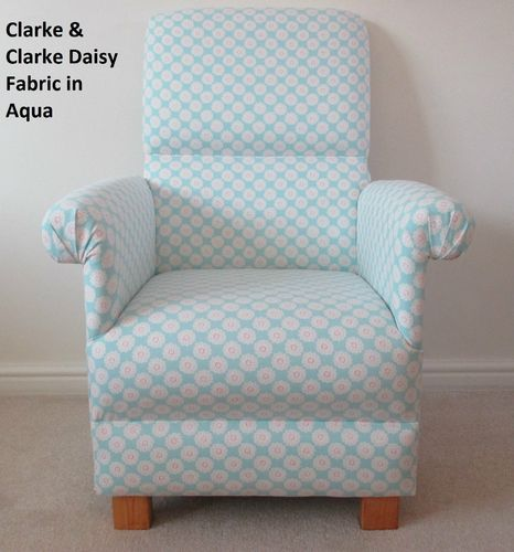 Clarke Daisy Aqua Blue Fabric Adult Chair Shabby Chic Flowers Nursery Kitchen Bedroom Bespoke