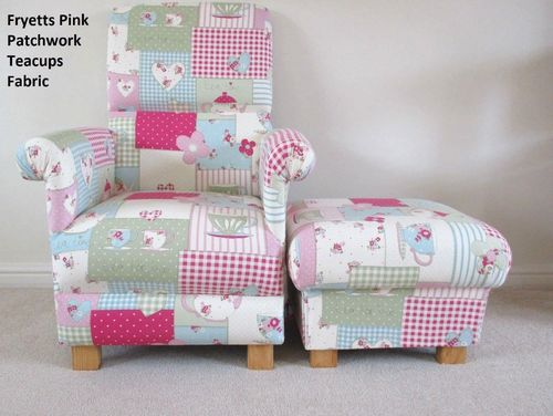 Fryetts Patchwork Teatime Fabric Adult Chair & Footstool Hearts Pink Blue Spots Armchair