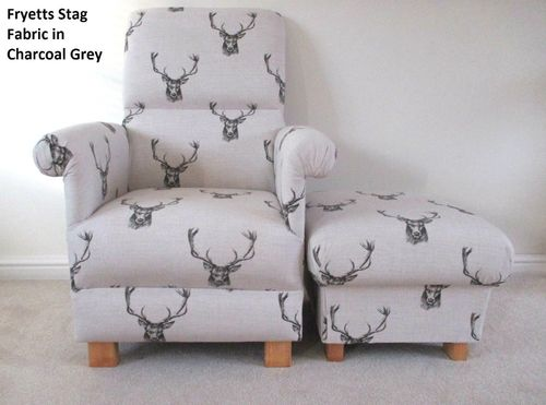 Fryetts Stag Charcoal Grey Fabric Adult Chair & Footstool Nursery Bedroom Living Room Armchair