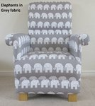 Grey Elephants Fabric Adult Chair Nursery White Bedroom Animals Armchair
