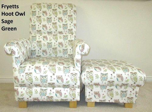 Fryetts Hoot Owl Patchwork Fabric Adult Chair U0026 Footstool Footstall Animals  Birds Nursery Sage Green