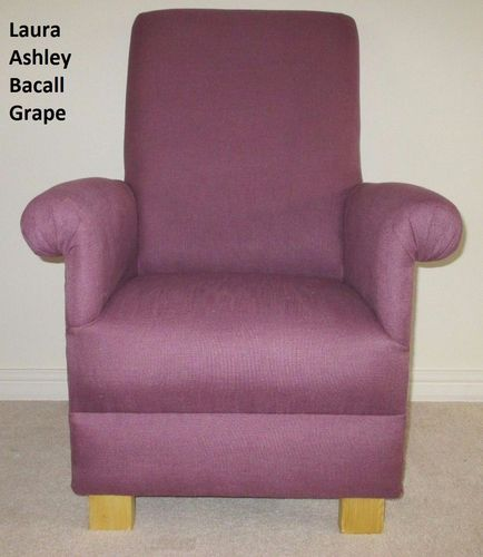 Laura Ashley Bacall Fabric Adult Chair Grape Lilac Purple Mauve Armchair  Nursery