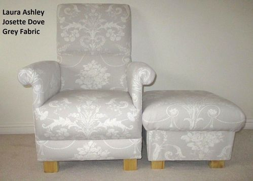 Laura Ashley Josette Dove Grey Fabric Adult Chair & Footstool Nursery Bedroom Lounge Armchair