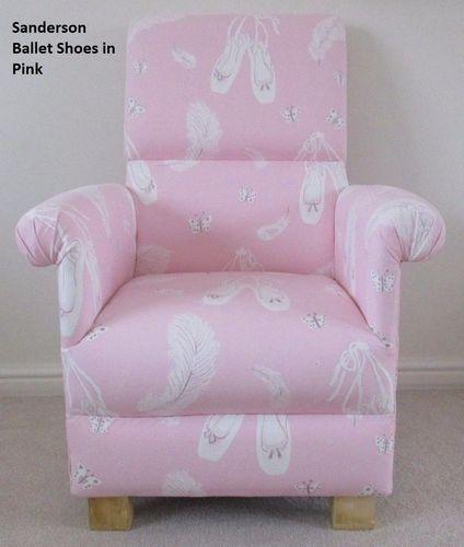 Sanderson Ballet Pink Fabric Chair Nursery Shoes Ballerina Armchair Bedroom