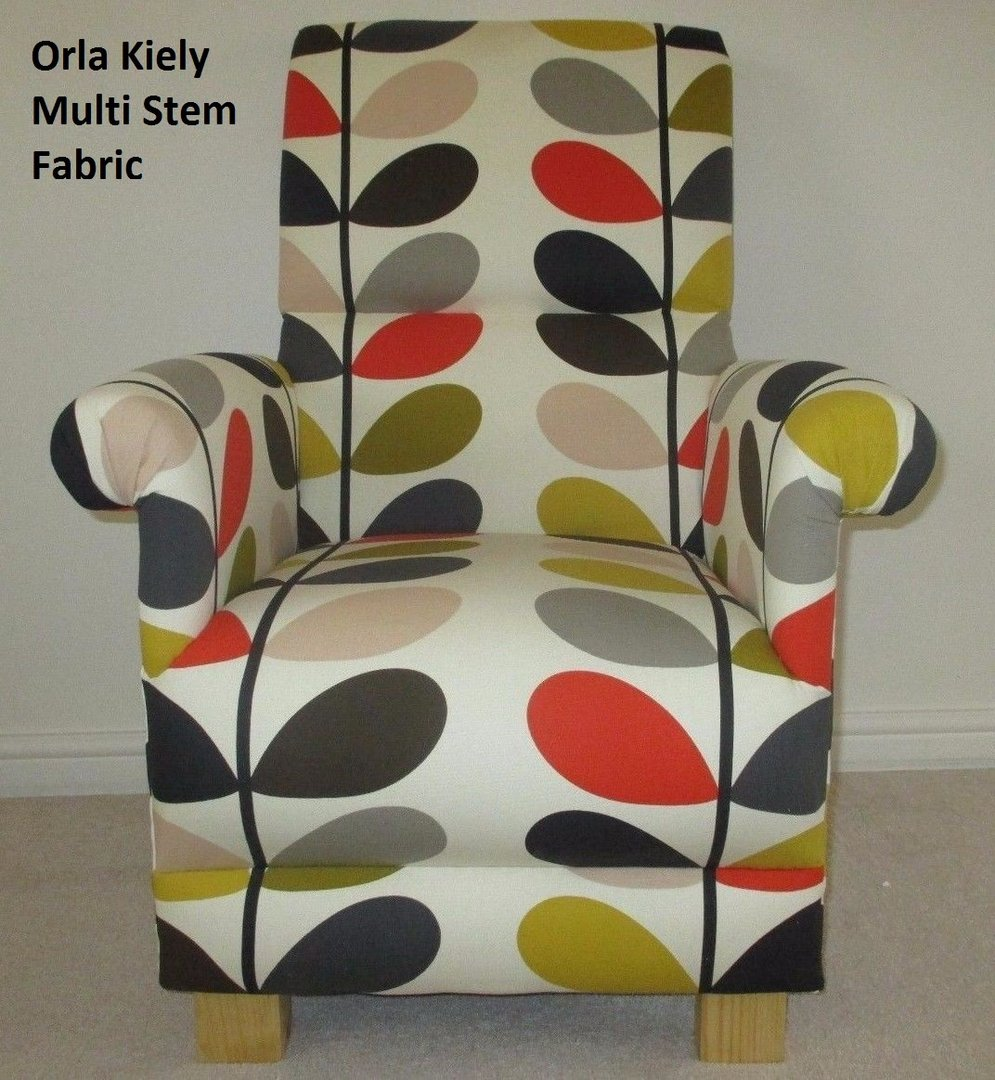 Orla Kiely Multi Stem Fabric Adult Chair Armchair Brown Cream Red Accent  Tomato ...