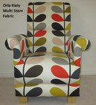 Orla Kiely Multi Stem Fabric Adult Chair Armchair Brown Cream Red Accent Tomato