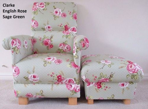 Clarke English Rose Sage Green Fabric Adult Chair & Footstool Armchair Pink Roses Floral