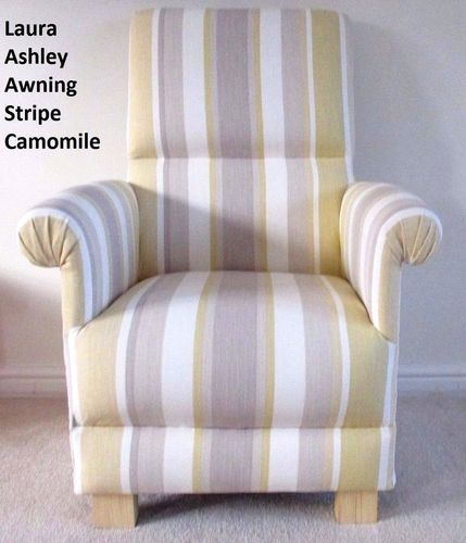 Laura Ashley Awning Stripe Camomile Fabric Chair Nursery Armchair Lemon Cream Bedroom Mustard