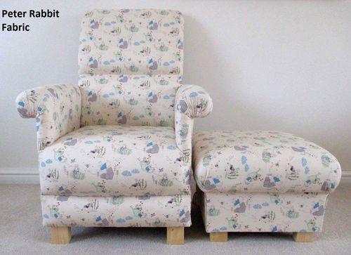 Peter Rabbit Fabric Chair Footstool Nursery Nursing Beatrix Potter Bedroom Armchair Flopsy