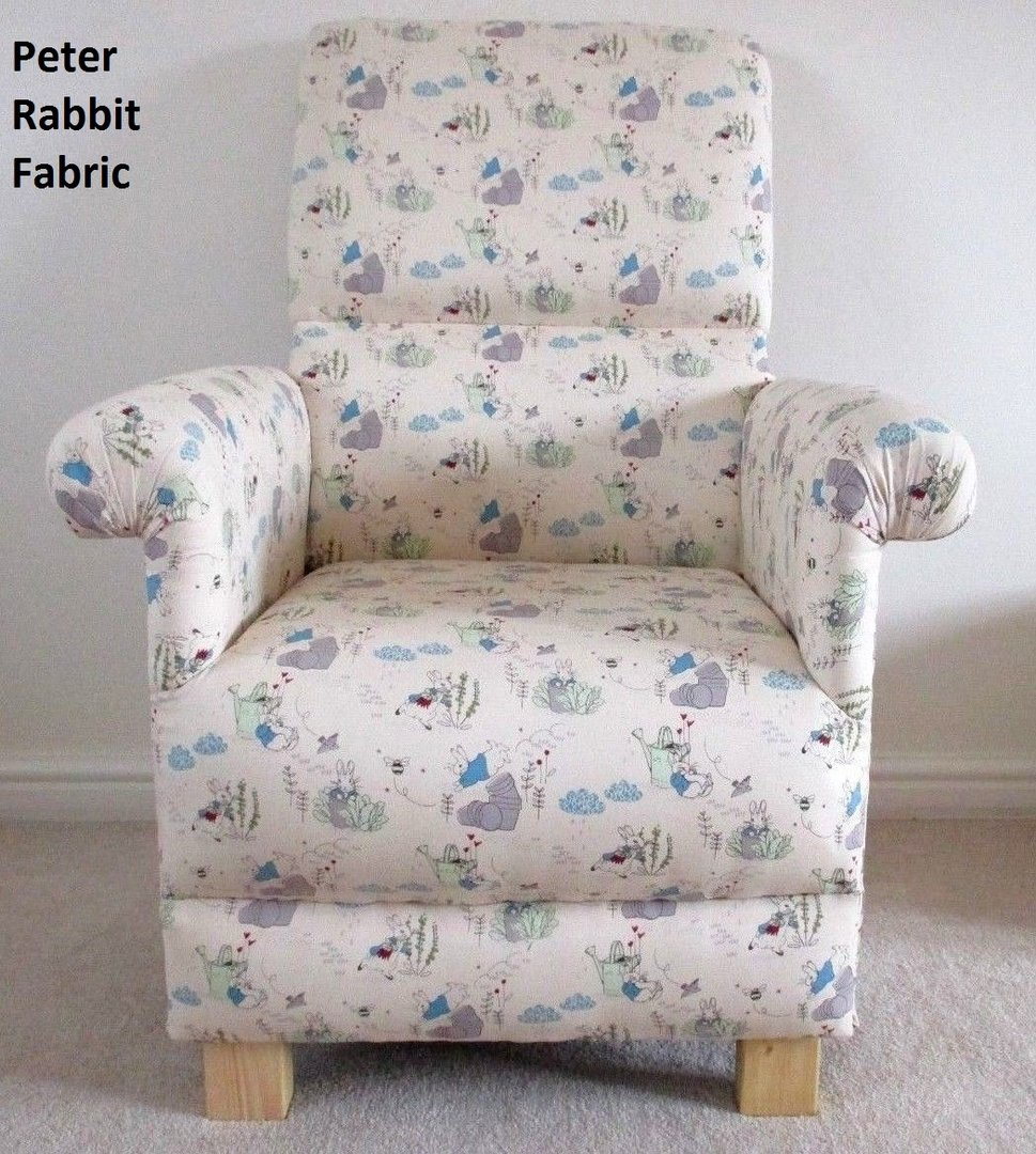 Beatrix Potter Peter Rabbit Fabric Chair Cream Nursery Armchair Mr Mcgregor Flopsy Mopsy