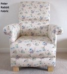 Beatrix Potter Peter Rabbit Fabric Adult Chair Cream Nursery Armchair Mr McGregor Flopsy Mopsy
