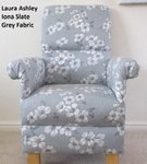 Adult Chair in Laura Ashley Iona Slate Grey Fabric Armchair Floral Accent Nursing