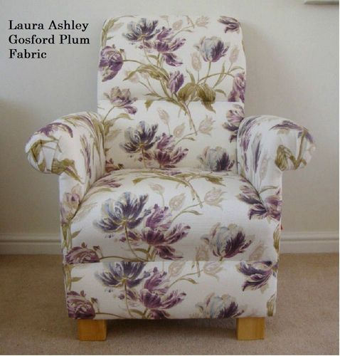 Laura Ashley Gosford Plum Fabric Adult Chair Purple Lilac Armchair Floral Accent Lounge Bedroom