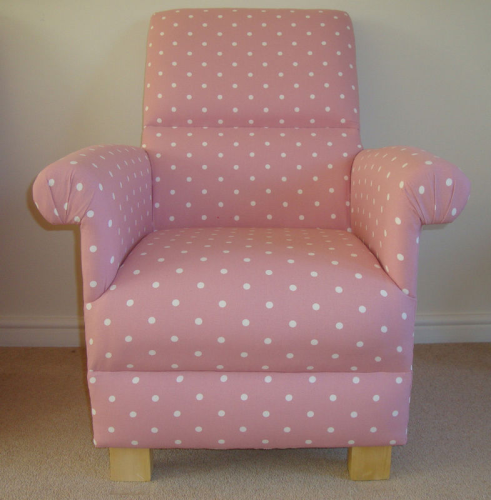 Clarke Pink Dotty Spot Polka Dot Fabric Adult Chair Nursery Bedroom Spots Accent Armchair Kitchen