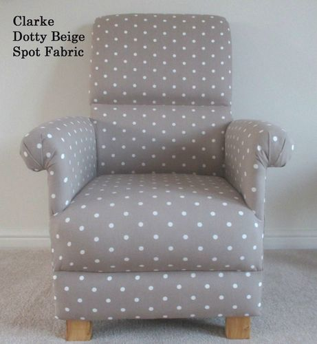 Clarke Taupe Dotty Spot Polka Dot Fabric Chair Nursery Beige Shabby Chic Armchair