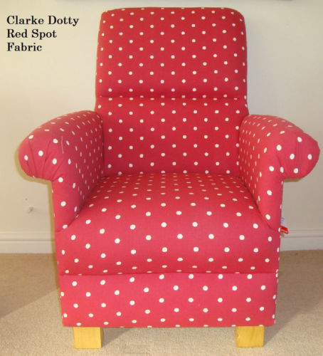 Clarke & Clarke Dotty Red Spot Fabric Adult Chair Multi Spot Armchair Nursery Accent Bedroom Kitchen