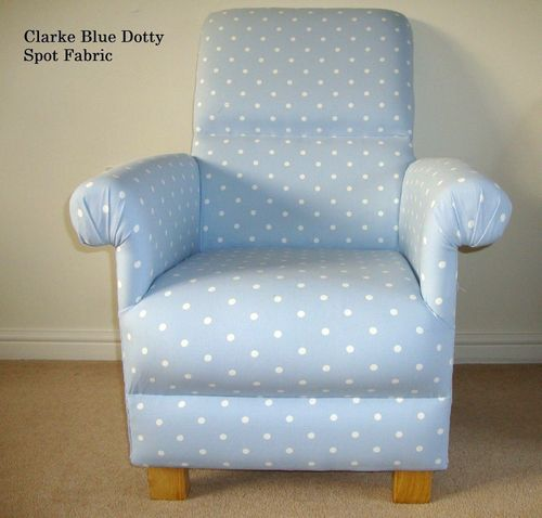 Clarke Blue Dotty Spot Fabric Armchair Bedroom Nursery Shabby Chic Polka Dots Bedroom Powder
