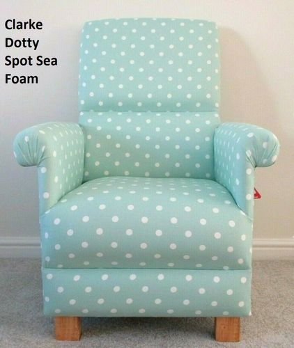 Clarke Dotty Spot Fabric Adult Chair Mint Green Sea Foam Armchair Nursery Polka Dots Spotty Bedroom