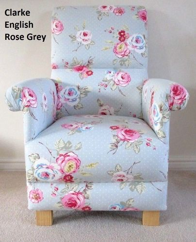 Clarke English Rose Grey Fabric Adult Chair Shabby Chic Flowers Nursery Bedroom Pink Armchair Floral