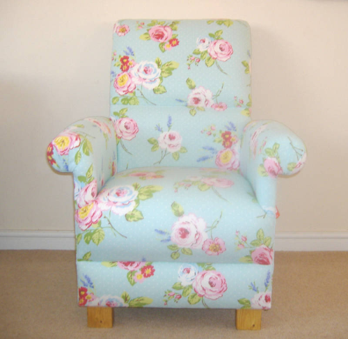 Clarke English Rose Sea Foam Fabric Adult Chair Nursery Green Pink Armchair Floral Shabby Chic