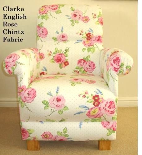 Clarke English Rose Chintz Fabric Adult Chair Nursery Shabby Chic Floral Pink White Bedroom